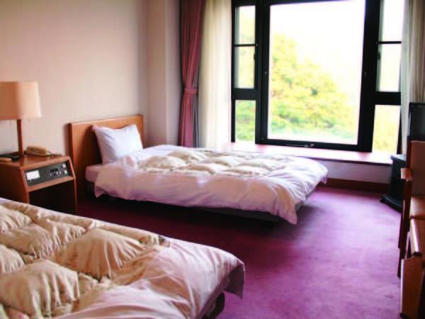 【ツイン客室例】お値打ち!ホテルタイプのツインルーム。窓からは山々を望む