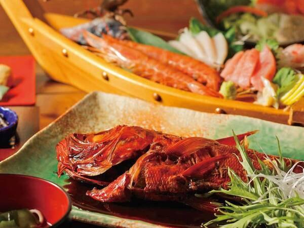 【金目鯛姿煮&金目鯛鍋・舟盛付プランの夕食/例】