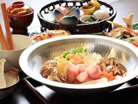 上州麦豚鍋会席一例/生寿苑のスタンダード会席!麦豚鍋の〆には、ご希望に合わせて雑炊もご用意致します♪