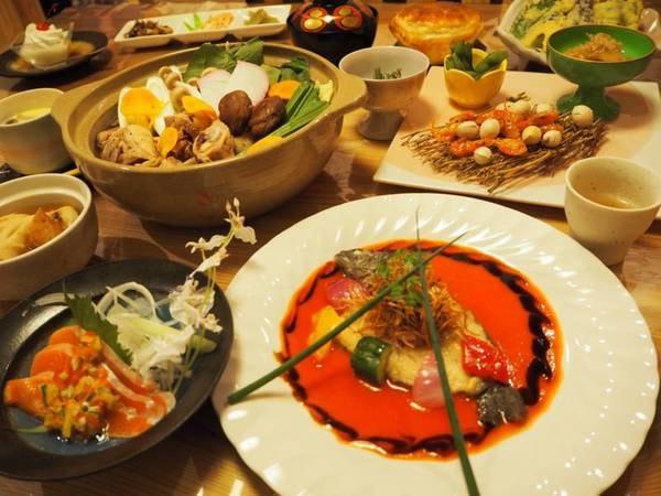 [部屋食]季節替わりの創作料理一例/基本プランから、お料理グレードアップ!部屋食でのんびりお過ごしください♪