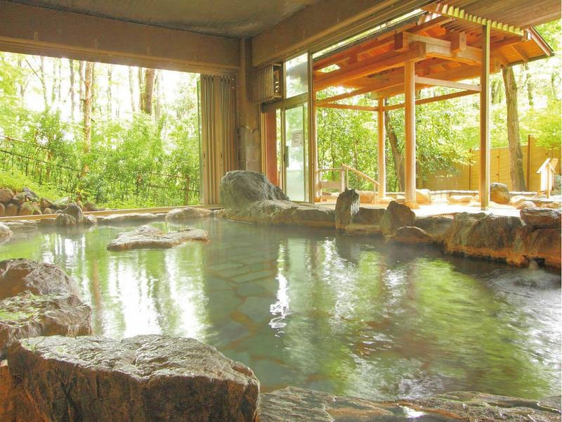【岩風呂】天然記念物である三波石を600トン使用した岩風呂