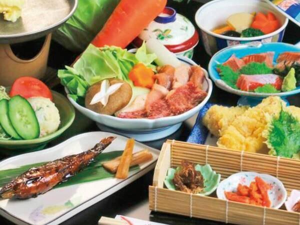 【夕食/例】上州牛・上州もち豚・上州地鶏の3種のお肉を味わう会席!
