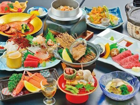 【味彩会席/例】あわび・伊勢海老・金目鯛・カニ・和牛の5大グルメ全部付!