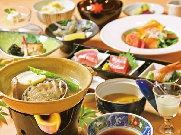 【夕食/例】あわび酒蒸しを中心に季節折々の伊豆の幸を愉しめる