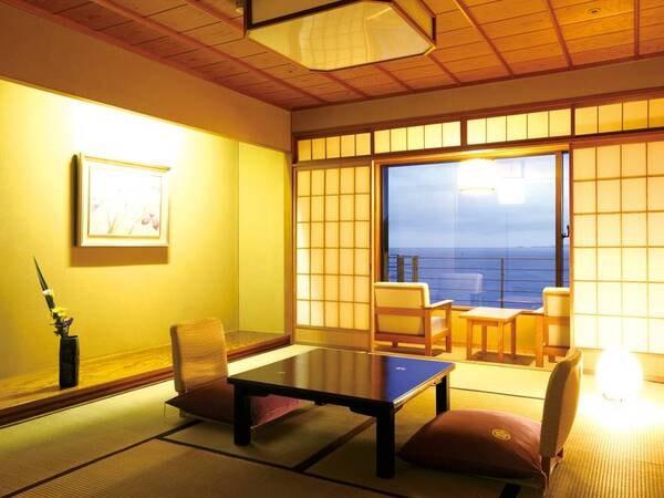 【オーシャンビュー和室/例】11畳+広縁付の和室から海景色を望む