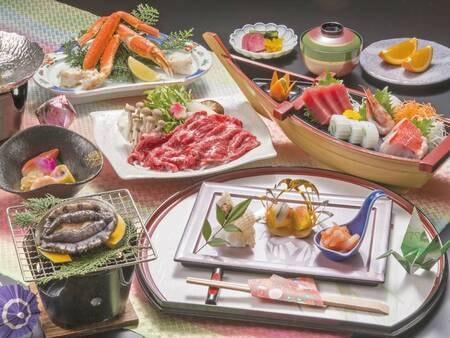 【舟盛り付3大味覚/例】あわび・蟹・牛の3大味覚に舟盛が1人1台付く!