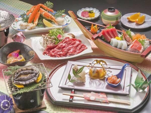 【舟盛り付!三大味覚プラン/例】あわび踊り焼きや茹でずわい蟹、和牛しゃぶしゃぶ、季節のお造り4種舟盛り(お1人1舟)など