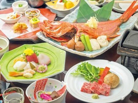 【夕食/例】『金目鯛のあたみ煮』と贅沢『和牛の溶岩焼き』の2大メイン!