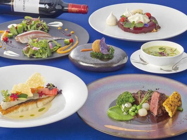 【特選・フレンチ/例】国産牛フィレステーキとフォアグラのソテー(選択料理の1つ)、オマール海老ときのこのリゾットなど