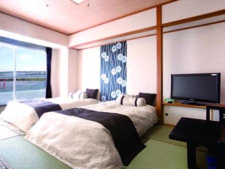 【和モダン/例】畳の上にローベッドを配した10畳和室