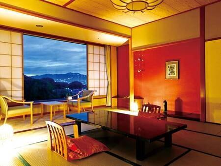 【12.5畳和室/例】 山々を望める広縁付き