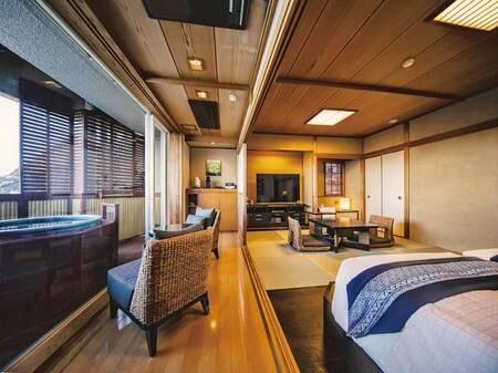 【ツイン和洋室60㎡(一間)】マッサージ機、客室露天風呂を完備する贅沢空間
