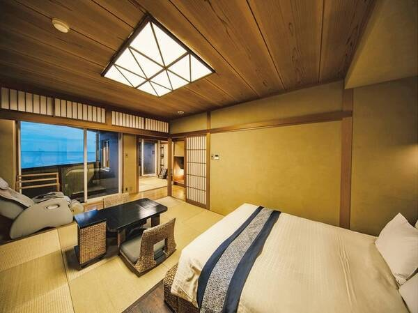 【ダブル和洋室60㎡】マッサージ機、温泉露天風呂を完備する贅沢空間