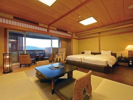【ツイン和洋室60㎡(二間)】マッサージ機、客室露天風呂を有する贅沢空間/例