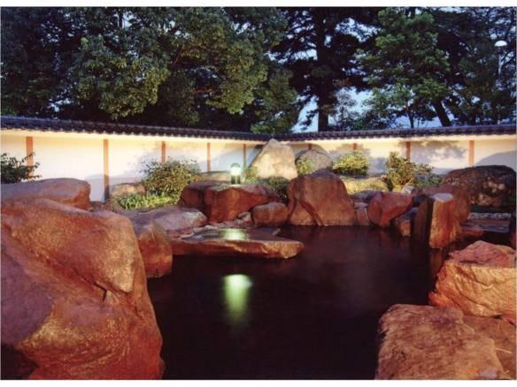 庭園露天岩風呂(夜)