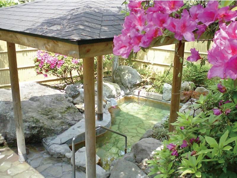 【貸切野天風呂(有料)】自然を眺めて湯浴み。純日本庭園に囲まれた、ひっそりとした趣の野天風呂で、豊泉荘ならではの温泉が楽しめます。野天風呂は独立しており、大浴場とは別の場所に位置しております。