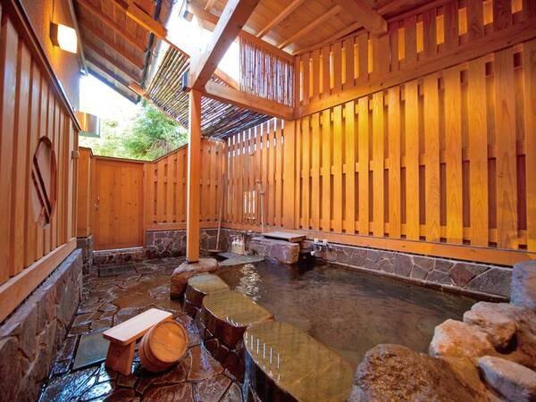 【天照石風呂(半露天)】源泉100%掛け流しのお湯を貸切でご利用いただけます