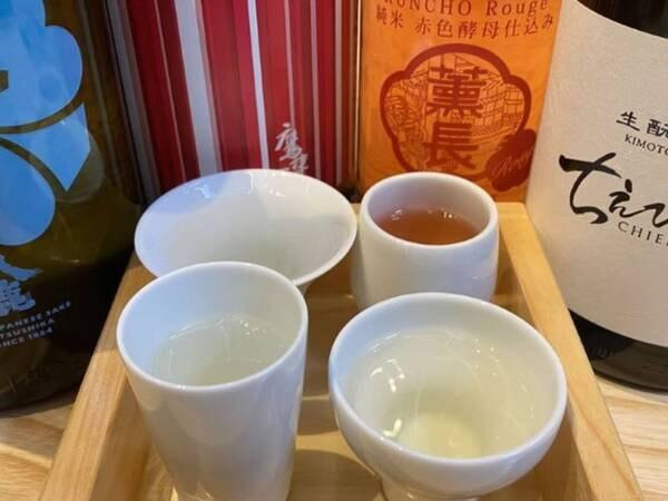 夕食時に日本酒・焼酎等の大分の銘酒やソフトドリンクを追加料金なくお召し上がりいただけます(写真は一例) ※ボトルワイン等一部有料メニューもございます
