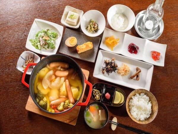 ソーセージと野菜のポトフの和朝食