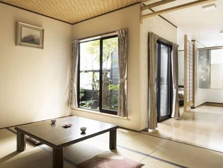 源泉掛流し開放型内湯と庭付き和洋室/一例