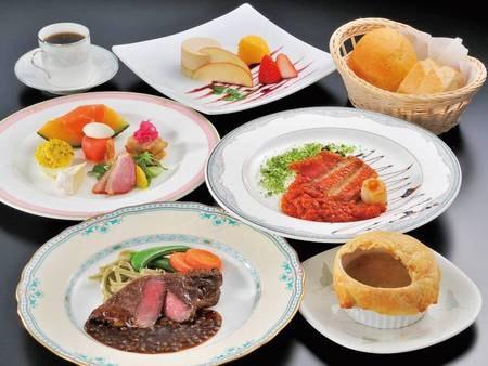 【2連泊プラン:夕食一例】2連泊プラン限定!和会席と洋食フルコースを1日づつ楽しめる♪