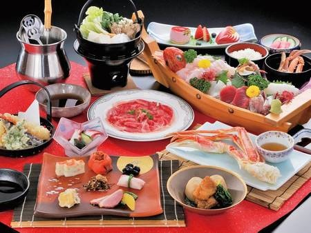 【夕食/例】和食コースには和牛鍋&新鮮魚介の舟盛り付き!
