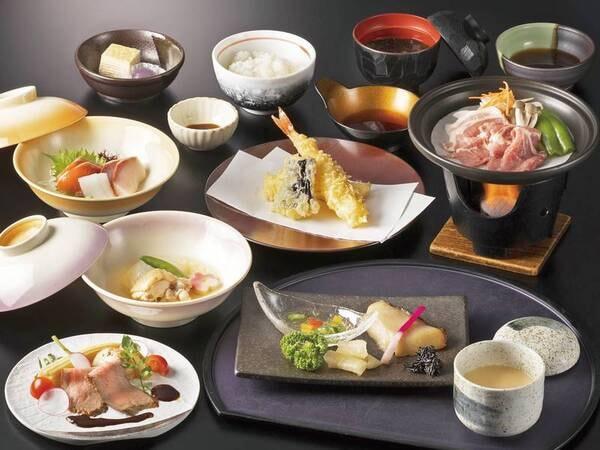 【夕食/例】箱根山麓豚の陶板焼き・天ぷら盛・お造り盛り合わせなど和会席