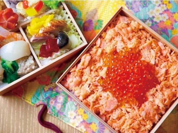 2段重弁当の鮭はらこ飯