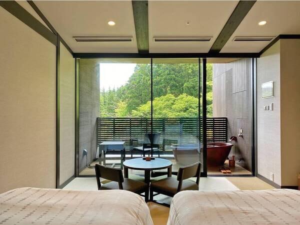 【最上階・温泉露天風呂付客室/例】天悠ならではの景色を!