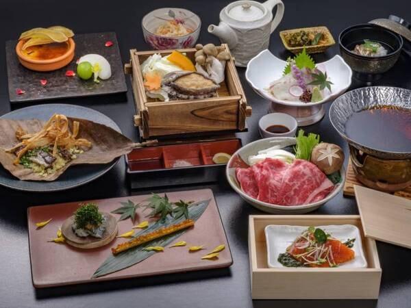 【あわび&味彩牛プラン/例】新鮮なあわびと、熊本県が誇る味彩牛を味わえる