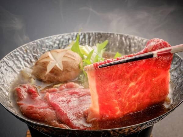 【味彩牛の牛鍋/例】※味彩牛の調理方法は陶板焼きか牛鍋を選択できます(グループ毎)