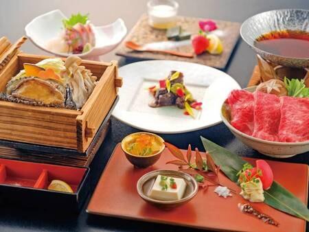【あわび&味彩牛&蟹3大味覚/例】活あわび・味彩牛に加え、ずわい蟹付の3大味覚プラン