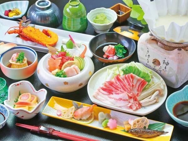 料金お得に豪華食材を楽しめる夕食をご用意!(写真は【伊勢海老・黒豚会席/例】
