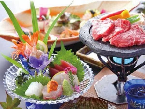 【夕食/一例】「熊本ブランド牛の陶板焼き」では一頭から数キロしかとれない「ザブトン」という部位を堪能できます