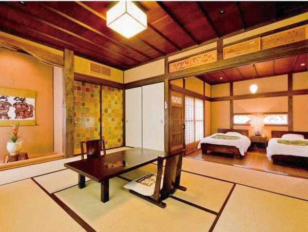 【特別室~紅葉~/一例】特別室「紅葉」は、囲炉裏の間と寝室(ツイン)からなる2間続きのお部屋です