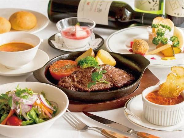 【国産和牛の鉄板ステーキコース/例】ジューシーな味わい