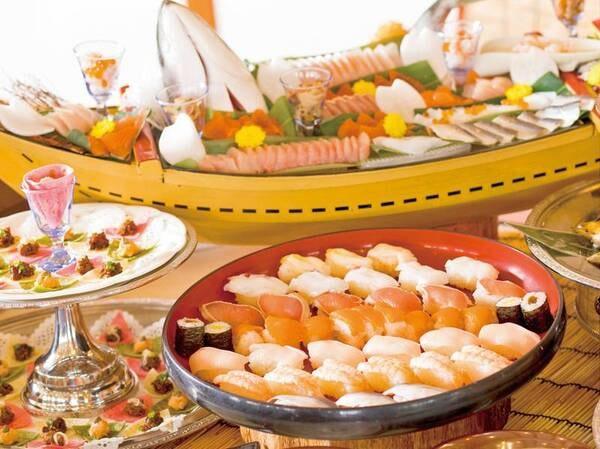【夕食バイキング/例】信州サーモンを使用した握り寿司一式と、信州サーモンのちらし寿司が日替わりで夕食に登場