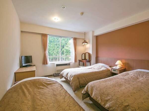 【洋室ツイン/例】ツイン客室に3名様一室でご利用になる際は、ソファーベッド(写真左のベッド)が入ります(普段はソファ)