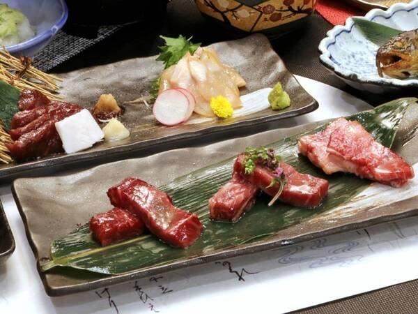 *【夕食】アップグレードコース/信州アルプス牛ステーキ、信州馬刺し、信州ハーブ鶏のあぶり