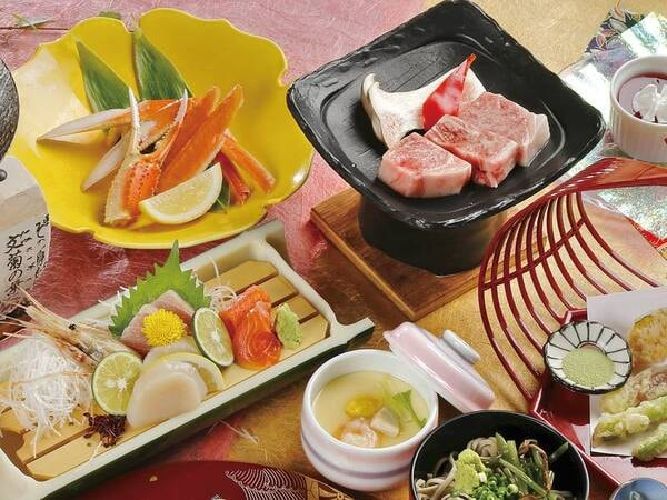 【A4国産牛&蟹付会席/例】特選牛の陶板焼等を堪能できるお料理グレードアッププラン