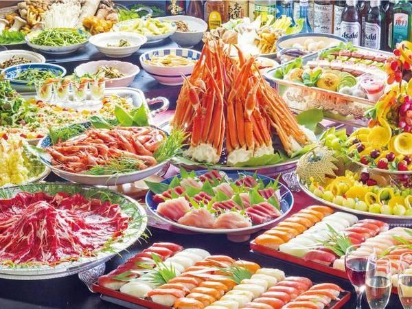 【バイキング/例】ずわい蟹、牛しゃぶ、刺身、握り寿司などが食べ放題!