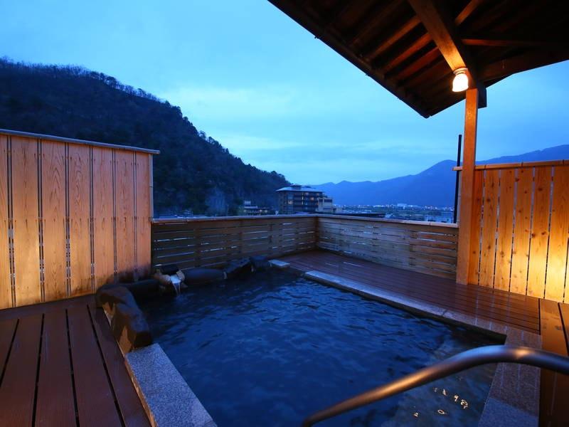 【展望露天風呂/千曲】信州の夕暮れを見ながら湯浴み