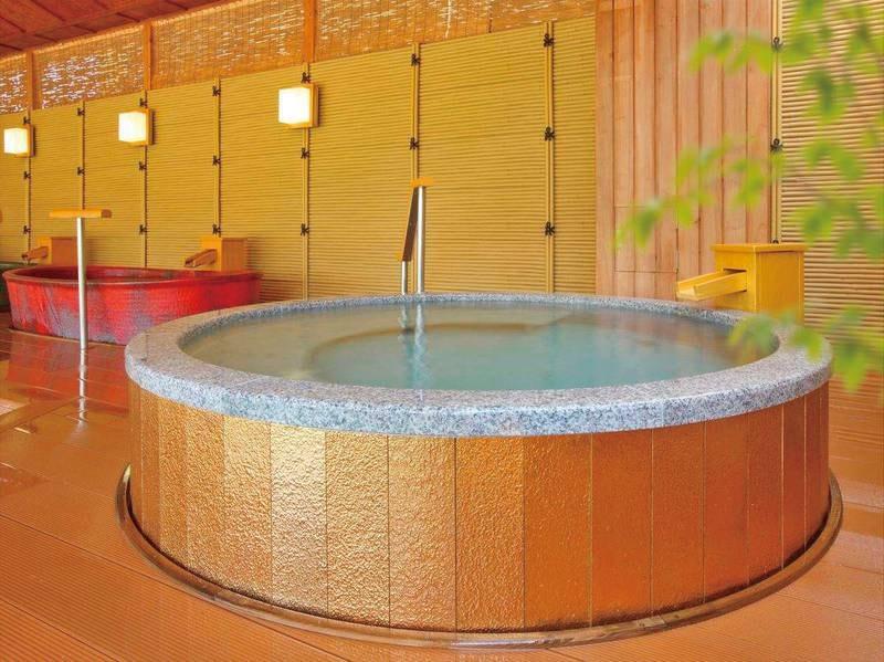 【湯めみの庭/黄金風呂】手すりと段差付きで安心