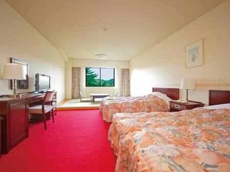 【和洋室/例】明るい雰囲気のツインベッド+和室の和洋室