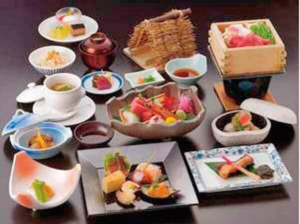 【松コース/デラックス例】福島牛や地元のおいしいものを堪能!美味しいものを思う存分味わえる、ワンランク上のお料理となります。