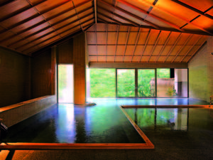 【大浴場】広々とした大浴場からも四季折々の渓谷美が楽しめる!