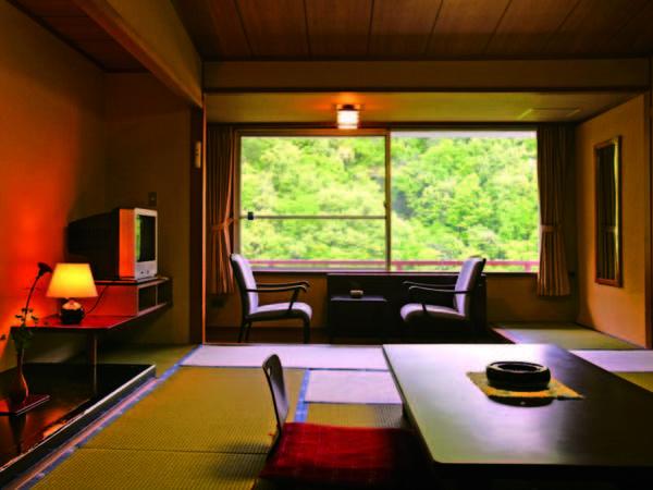 【月見亭和室/例】10畳以上のお部屋からは渓谷が四季を彩る景色が楽しめる