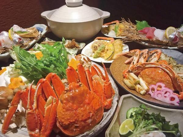 ずわい蟹一人1杯相当!蟹ちり鍋、焼き蟹、蟹天ぷらなど/例