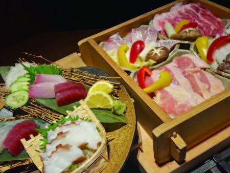 【夕食/例】地産の野菜や肉に魚がたっぷり味わえる!