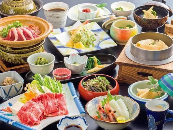 【季節のおまかせ里山会席コース/例】都合により食器やメニューの一部が変わることがあります。※写真は1人前です